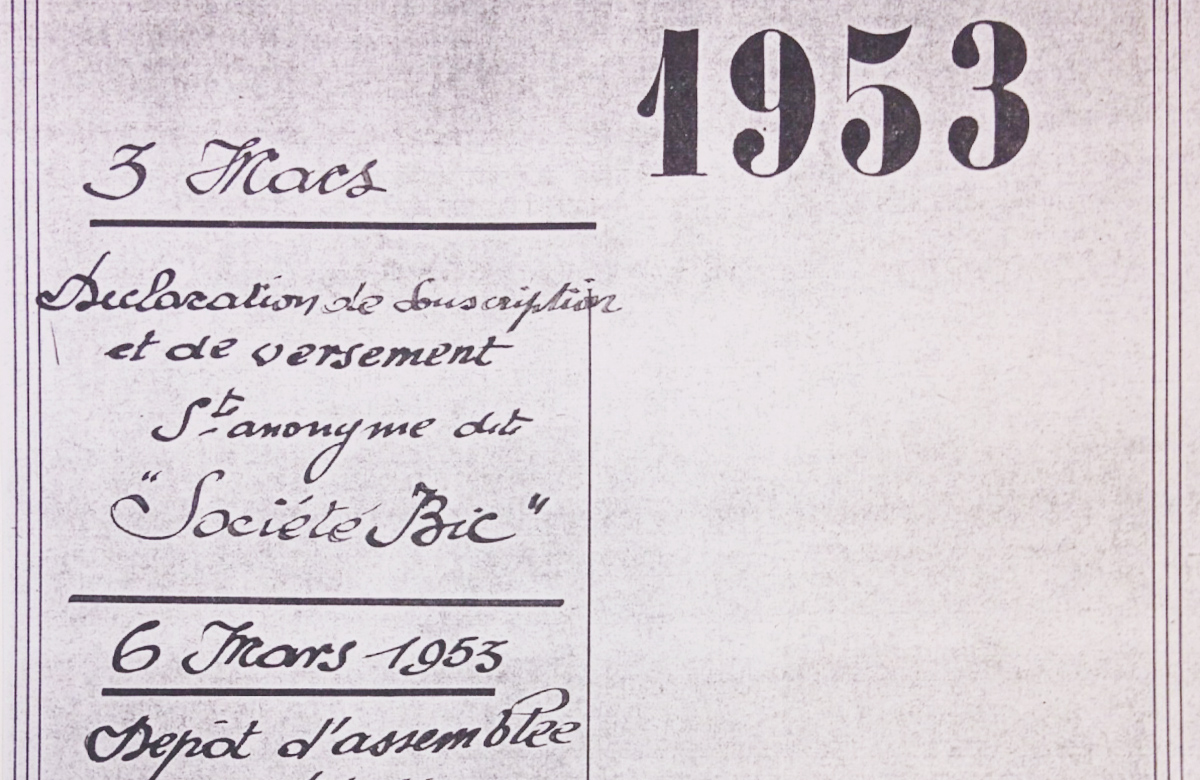 Old document of the creation of Société BIC